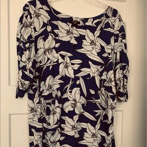 Alfani royal blue and white floral knit top